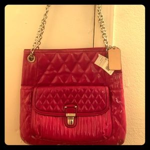 Coach Poppy liquid gloss slim tote l, magenta
